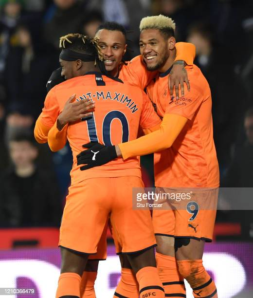 Valentino Lazaro of Newcastle United celebrates with team mates Joelinton and Allan SaintMaximin after scoring his sides third goal during the FA Cup...