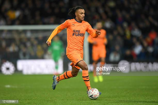 Valentino Lazaro of Newcastle United in action during the FA Cup Fifth Round match between West Bromwich Albion and Newcastle United at The Hawthorns...