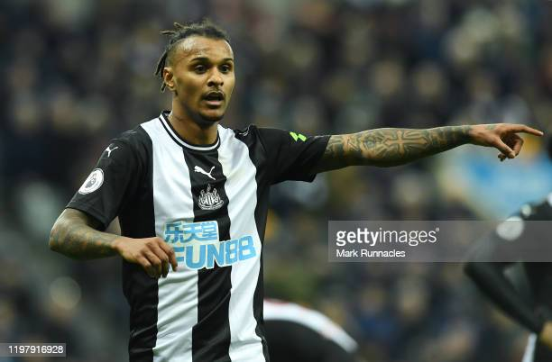 Valentino Lazaro of Newcastle United in action during the Premier League match between Newcastle United and Norwich City at St. James Park on...