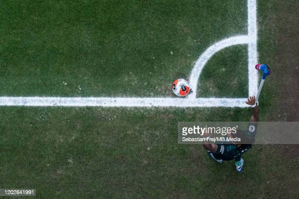 Valentino Lazaro of Newcastle United take corner kick during the Premier League match between Crystal Palace and Newcastle United at Selhurst Park on...