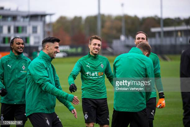 Valentino Lazaro, Patrick Herrmann and Tobias Sippel are seen during a Training session of Borussia Moenchengladbach at Borussia-Park on October 26,...