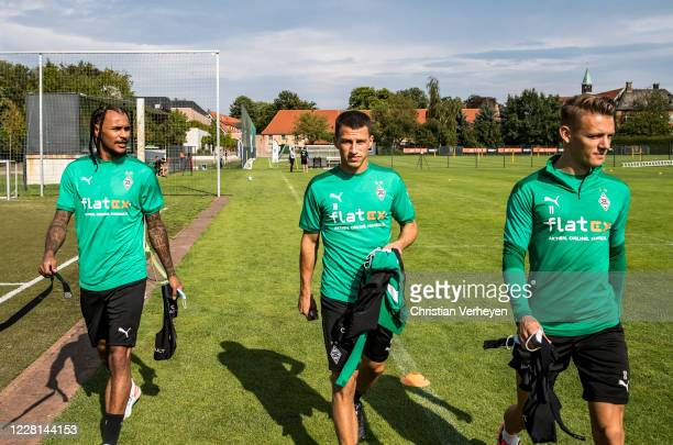 Valentino Lazaro Stefan Lainer and Hannes Wolf are seen during a Training session at the Training Camp of Borussia Moenchengladbach at Klosterpforte...