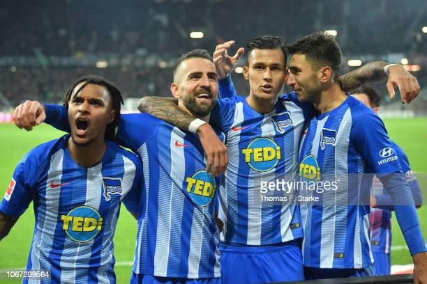 Valentino Lazaro Vedad Ibisevic Davie Selke and Marko Grujic of Berlin celebrate their teams second goal during the Bundesliga match between Hannover...