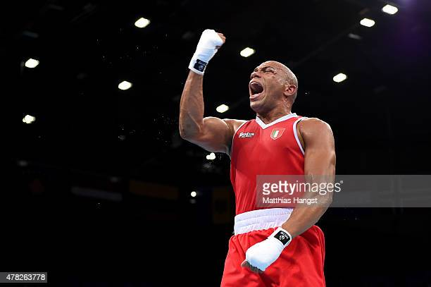 Valentino Mandredonia of Italy celebrates victory over Oleksandr Khyzhniak of Ukraine in the Men's Boxing Light Heavyweight Semi Final during day...