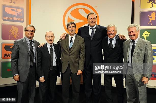 Valentino Renzi Presidente of Lega Basket Dan Peterson Sportitalia Basketball Commentator Jordi Bertomeu CEO Euroleague Basketball Bruno Bogarelli...