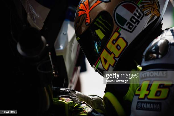 Valentino Rossi and Fiat Yamaha Team prepares during the final day of the MotoGP test at Sepang International Circuit near Kuala Lumpur Malaysia on...