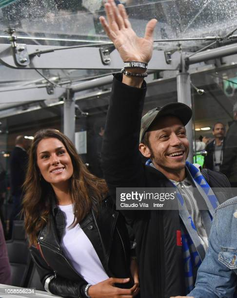 Valentino Rossi and Francesca Sofia Novello attend the Group B match of the UEFA Champions League between FC Internazionale and FC Barcelona at San...