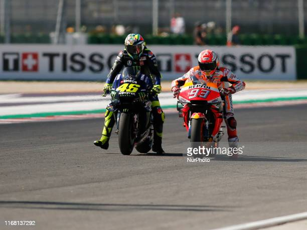 Valentino Rossi and Marc Marquez during the free practice of Gran Premio OCTO of San Marino e Riviera di Rimini 2019 at Misano-Marco Simoncelli...