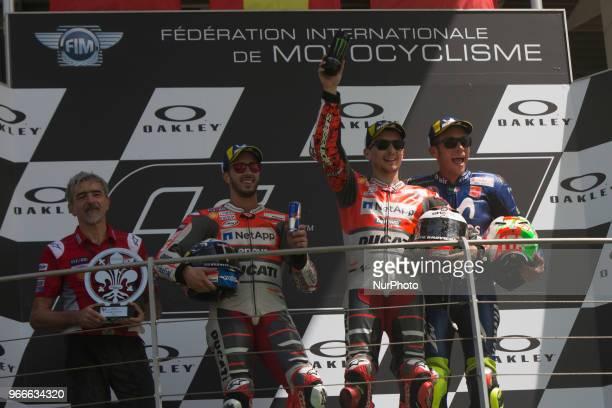 Valentino ROSSI Andrea DOVIZIOSSI Jorge LORENZO podium winner during Race MotoGP at the Mugello International Cuircuit for the sixth round of MotoGP...