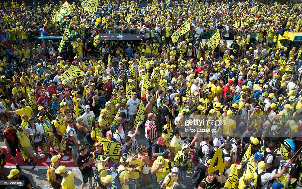 Valentino Rossi fans invade the pit lane after the MotoGP of San Marino race at Misano World Circuit on September 11, 2016 in Misano Adriatico, Italy.