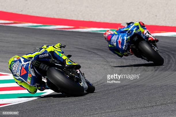 Valentino Rossi from Italy and Maverick Vinales from Spain MOVISTAR YAMAHA MotoGP Team and Suzuki Ecstar MotoGP Team during the Day2 Qualifying at...