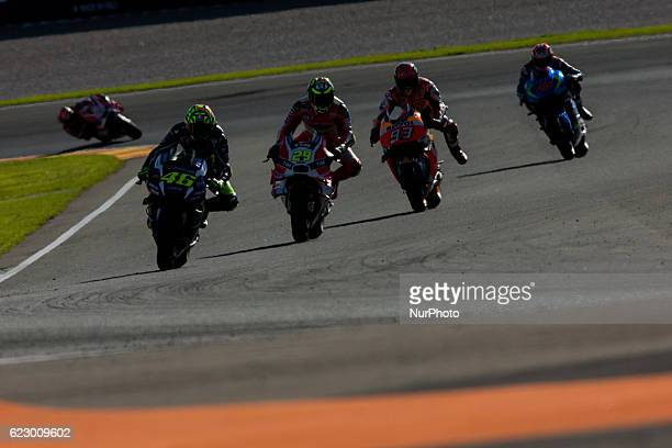 Valentino Rossi from Italy of Movistar Yamaha Moto GP Andrea Iannone from Italy of Ducati Team and Marc Marquez from Spain of Repsol Honda Team...