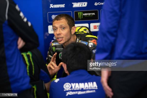 Valentino Rossi in the pits he talks about his engineers and mechanics in race Day 4 at the Mugello International Cuircuit for the sixth round of...