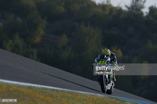 Valentino ROSSI Movistar Yamaha MotoGP during the warm up before the race during the MotoGp Grand Prix Red Bull of Spain at the Jerez Circuit