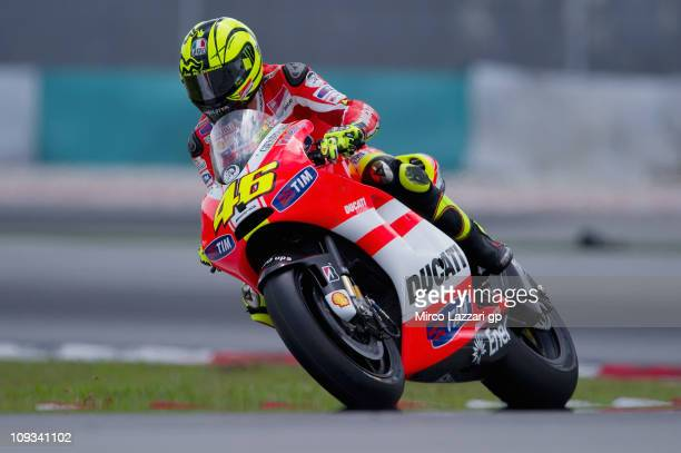 Valentino Rossi of Italy and and Ducati Marlboro rounds a bend during the first day of testing at Sepang Circuit on February 22 2011 in Kuala Lumpur...
