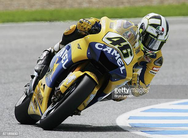 Valentino Rossi of Italy and Camel Yamaha finished 14th after crashing at the start of the MotoGP of Spain at the Circuito de Jerez, omn March 25...