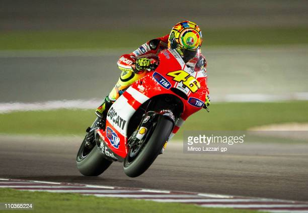 Valentino Rossi of Italy and Ducati Marlboro Team heads down a straight during the free practice of Doha GP at Losail Circuit on March 17, 2011 in...
