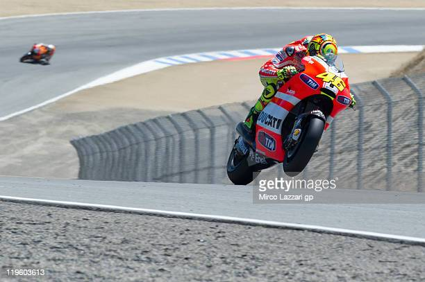 Valentino Rossi of Italy and Ducati Marlboro Team heads down a straight during the free practice of Red Bull US Grand Prix at Mazda Raceway Laguna...