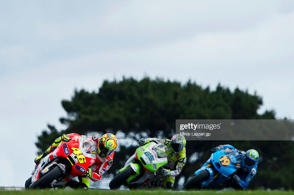 Valentino Rossi of Italy and Ducati Marlboro Team leads the field during the qualifying practice for the Australian MotoGP, which is round 16 of the MotoGP World Championship, at Phillip Island Grand Prix Circuit on October 15, 2011 in Phillip Island, Australia.
