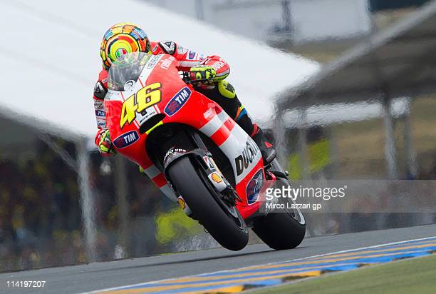 Valentino Rossi of Italy and Ducati Marlboro Team lifts the front wheel during the MotoGP race of MotoGP of France in Le Mans Circuit on May 15 2011...