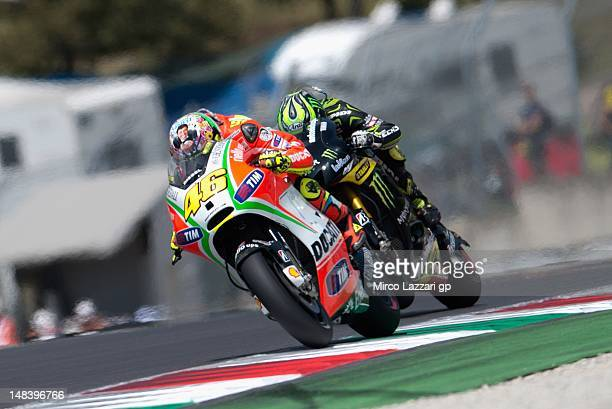 Valentino Rossi of Italy and Ducati Marlboro Team rides during the MotoGP race of the MotoGP of Italy at Mugello Circuit on July 15 2012 in Scarperia...