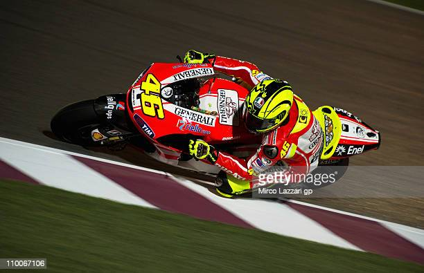 Valentino Rossi of Italy and Ducati Marlboro Team rounds the bend during the second day of MotoGP Tests at Losail Circuit on March 14 2011 in Doha...