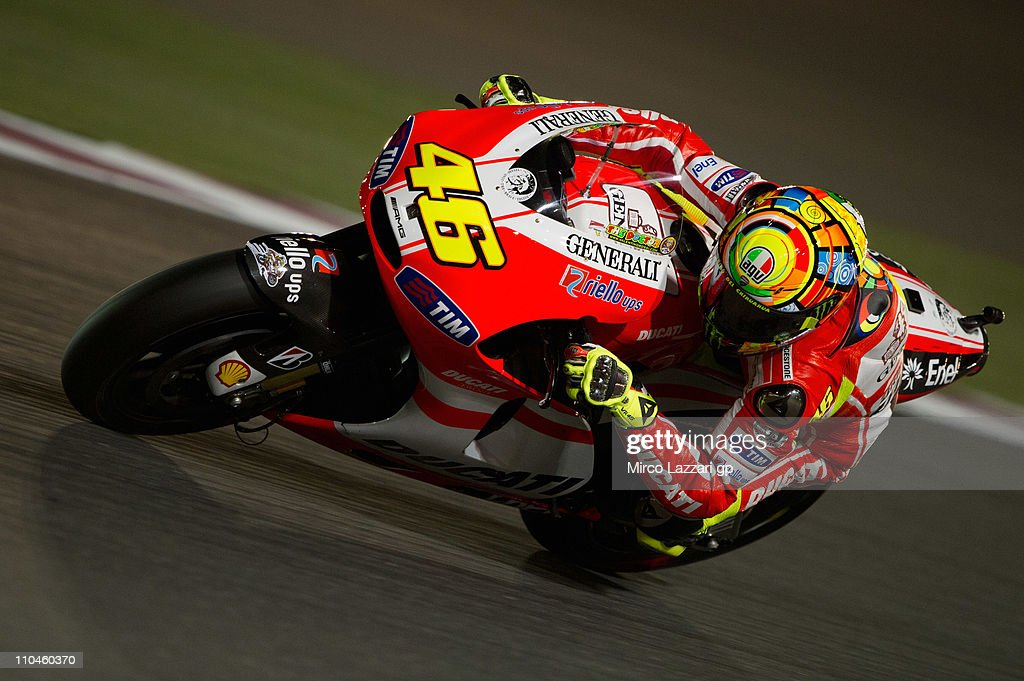 Valentino Rossi of Italy and Ducati Marlboro Team rounds the bend during the free practice of Doha GP at Losail Circuit on March 18, 2011 in Doha, Qatar.