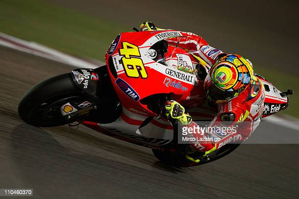 Valentino Rossi of Italy and Ducati Marlboro Team rounds the bend during the free practice of Doha GP at Losail Circuit on March 18, 2011 in Doha,...