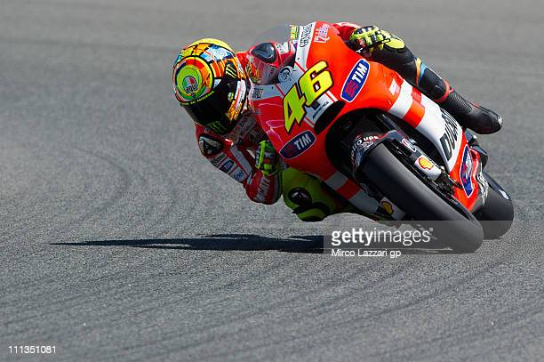 Valentino Rossi of Italy and Ducati Marlboro Team rounds the bend during the free practice at Circuito de Jerez on April 1 2011 in Jerez de la...