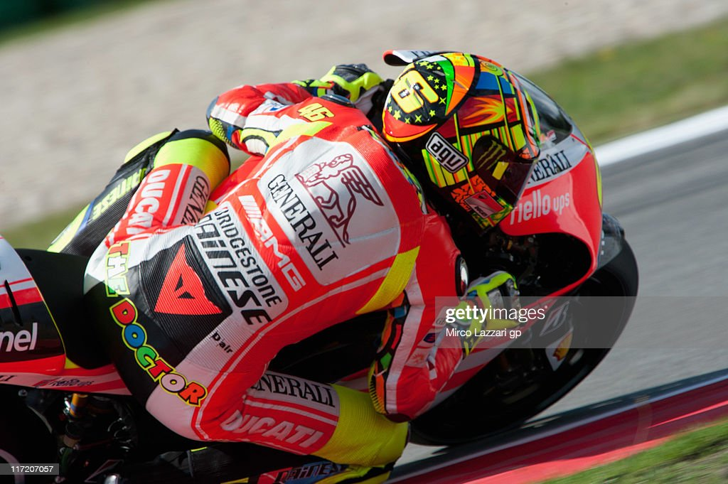Valentino Rossi of Italy and Ducati Marlboro Team rounds the bend during the qualifying practice of MotoGP of Netherlands at TT Circuit Assen on June 24, 2011 in Assen, Netherlands.