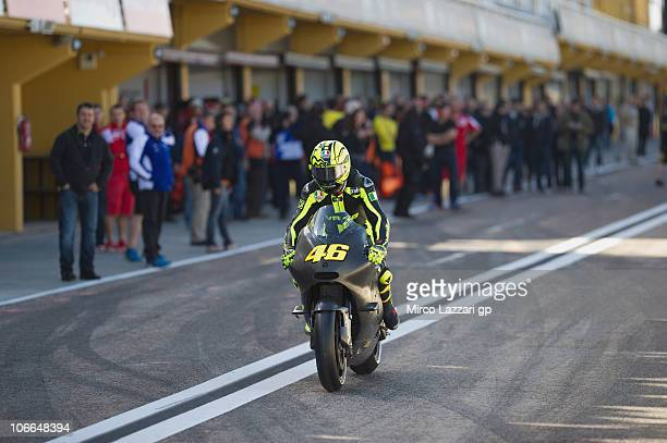 Valentino Rossi of Italy and Ducati Marlboro Team starts on a Ducati GP11 machine during testing for th 2011 season at Ricardo Tormo Circuit on...