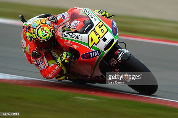 Valentino Rossi of Italy and Ducati Team drives during the qualifying of MotoGp Of Holland at TT Circuit Assen on June 29 2012 in Assen Netherlands