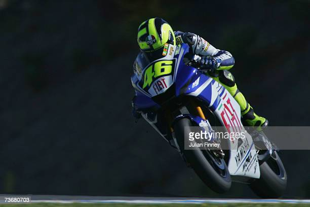 Valentino Rossi of Italy and Fiat Yamaha in action during practice in the MotoGP of Spain at the Circuito de Jerez on March 23 2007 in Jerez Spain