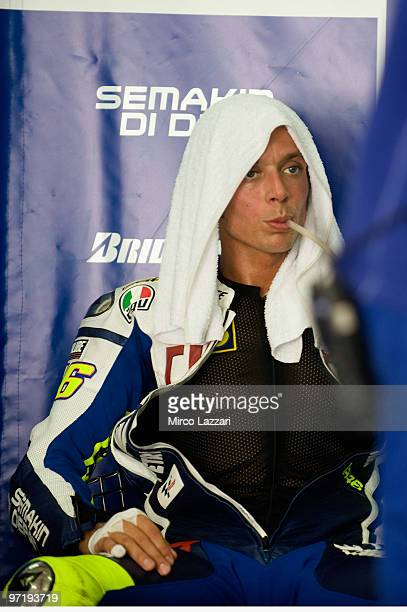 Valentino Rossi of Italy and Fiat Yamaha Team drinks in box during the day of testing at Sepang Circuit on February 26 2010 in Kuala Lumpur Malaysia
