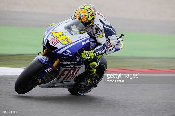 Valentino Rossi of Italy and Fiat Yamaha Team heads down a straight during qualification round for Round Seven of the MotoGP World Championship at...