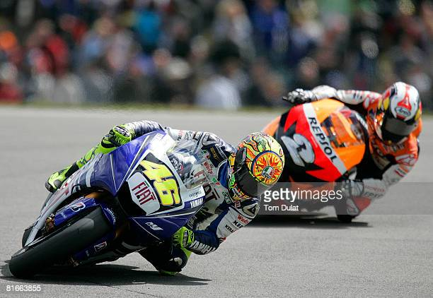 Valentino Rossi of Italy and Fiat Yamaha Team in action during the British Moto GP at Donington Park on June 22 2008 in Donington England