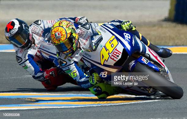Valentino Rossi of Italy and Fiat Yamaha Team leads Jorge Lorenzo of Spain and Fiat Yamaha Team during the MotoGP of France at the French Grand Prix...