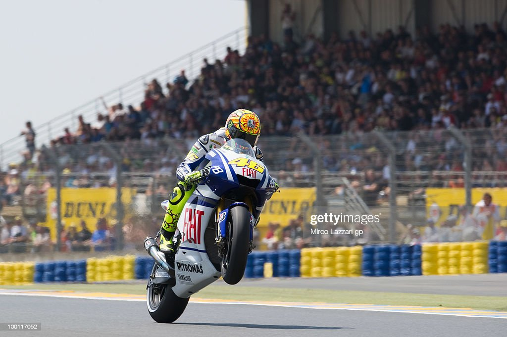 Valentino Rossi of Italy and Fiat Yamaha Team lifts the front wheel during the first free practice of the MotoGP French Grand Prix in Le Mans Circuit on May 21, 2010 in Le Mans, France.