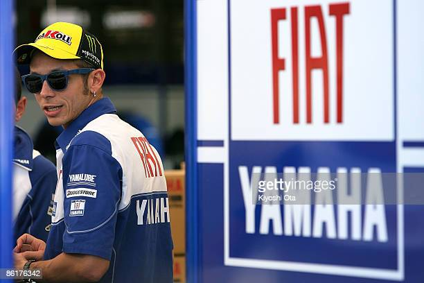 Valentino Rossi of Italy and Fiat Yamaha Team looks on at a paddock area ahead of the MotoGP World Championship Grand Prix of Japan at Twin Ring...