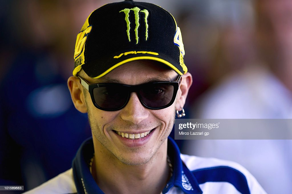 Valentino Rossi of Italy and Fiat Yamaha Team smiles during the press conference pre-event of the Grand Prix of Italy on June 3, 2010 in Mugello Circuit near Florence, Italy.