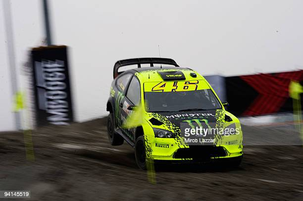 Valentino Rossi of Italy and Ford Focus Wrc jumps during the Findomestic Memorial Bettega during Bologna Motor Show 2009 on December 8 2009 in...