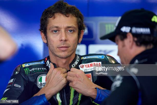 Valentino Rossi of Italy and Monster Energy Yamaha MotoGP during qualifying of the Gran Premio Michellin de Aragon of world championship of MotoGP at...