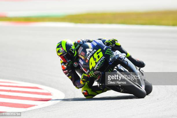 Valentino Rossi of Italy and Monster Energy Yamaha MotoGP during the third MotoGP free practice session ahead of MotoGP Gran Premi Monster Energy de...
