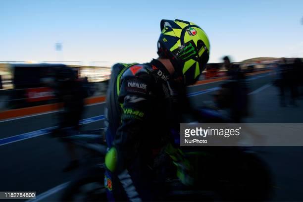 Valentino Rossi of Italy and Monster Energy Yamaha MotoGP during the qualifying of Gran Premio Motul de la Comunitat Valenciana at Ricardo Tormo...