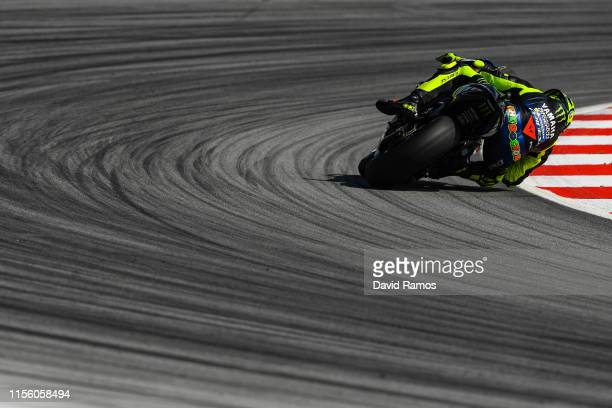 Valentino Rossi of Italy and Monster Energy Yamaha MotoGP rides during the third MotoGP free practice session ahead of MotoGP Gran Premi Monster...