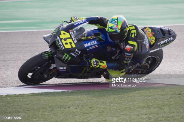 Valentino Rossi of Italy and Monster Energy Yamaha MotoGP Team heads down a straight during the MotoGP Tests at Losail Circuit on February 24 2020 in...