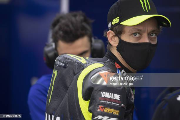 Valentino Rossi of Italy and Monster Energy Yamaha MotoGP Team looks on in box during the qualifying for the MotoGP of Comunitat Valenciana at...