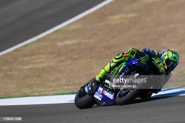Valentino Rossi of Italy and Monster Energy Yamaha MotoGP Team rounds the bend during the MotoGP tests at the Circuito de Jerez on July 15, 2020 in...