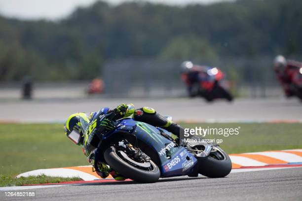 Valentino Rossi of Italy and Monster Energy Yamaha MotoGP Team rounds the bend during the MotoGP race during the MotoGP Of Czech Republic at Brno...
