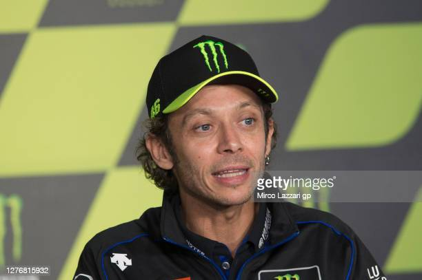 """Valentino Rossi of Italy and Monster Energy Yamaha MotoGP Team speaks during the """"Valentino Rossi and Lin Jarvis: an exceptional press conference""""..."""